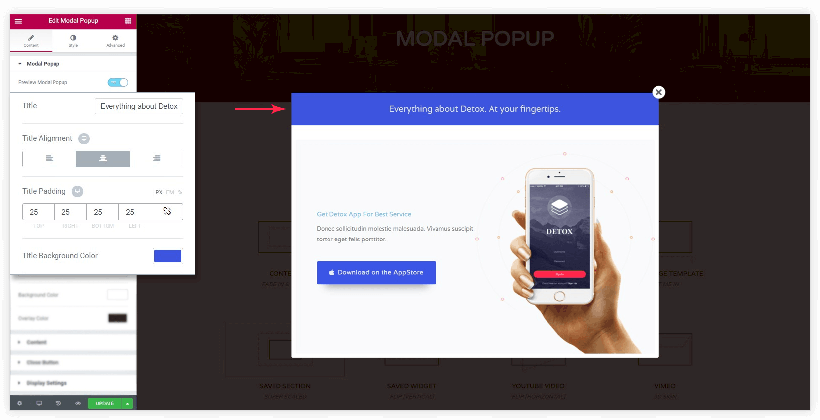 how to create modal popup