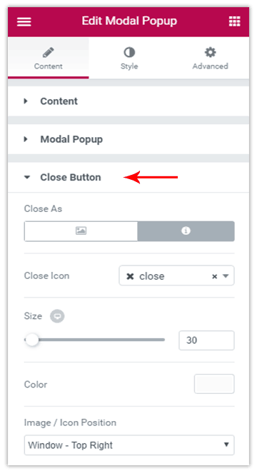 What are the Various Options to Close a Modal Popup in UAEL