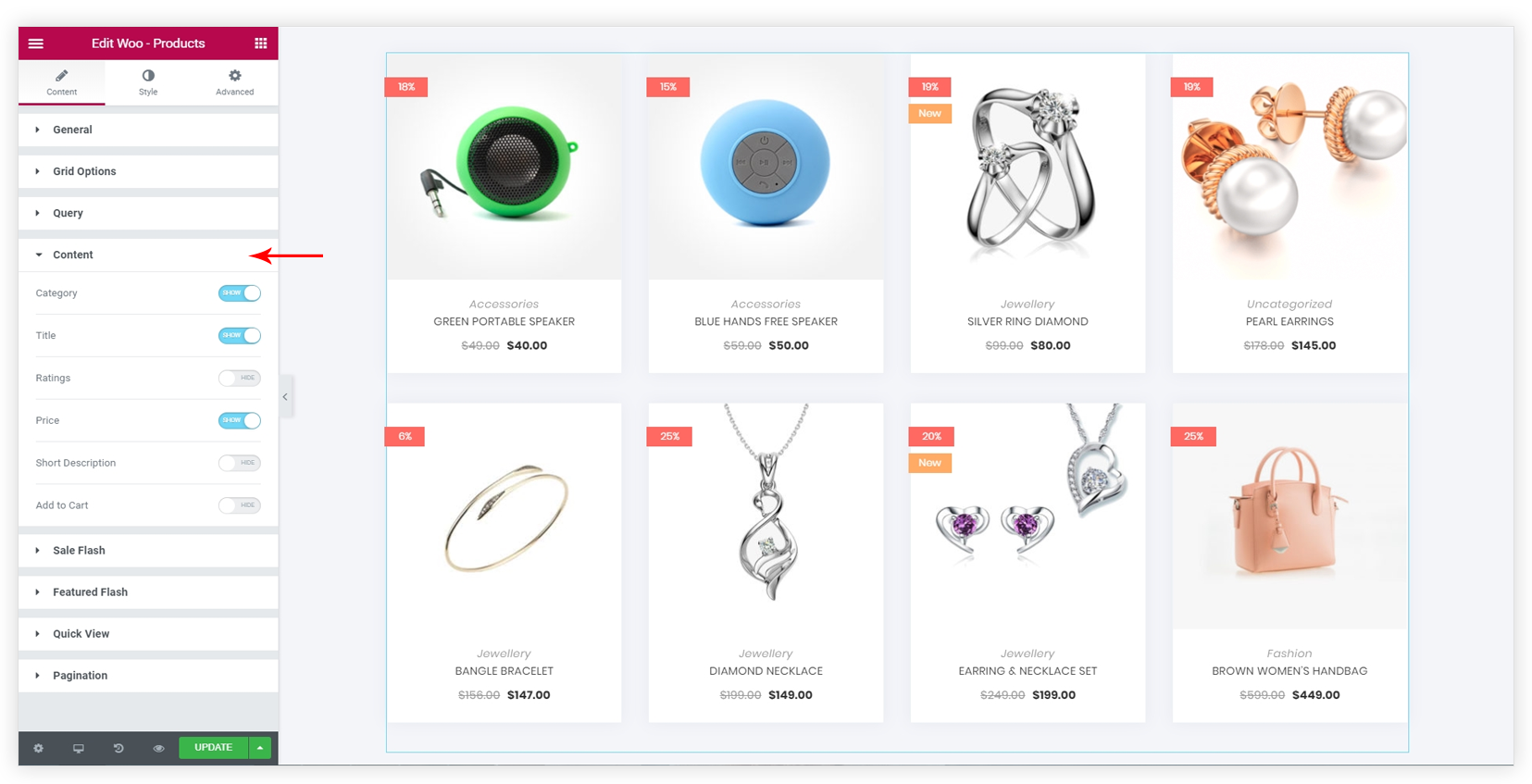 Woo - Products Widget – Ultimate Addons for Elementor