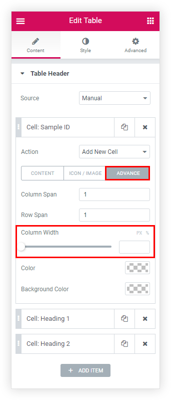 How to add Custom Width to Table Columns? – Ultimate Addons