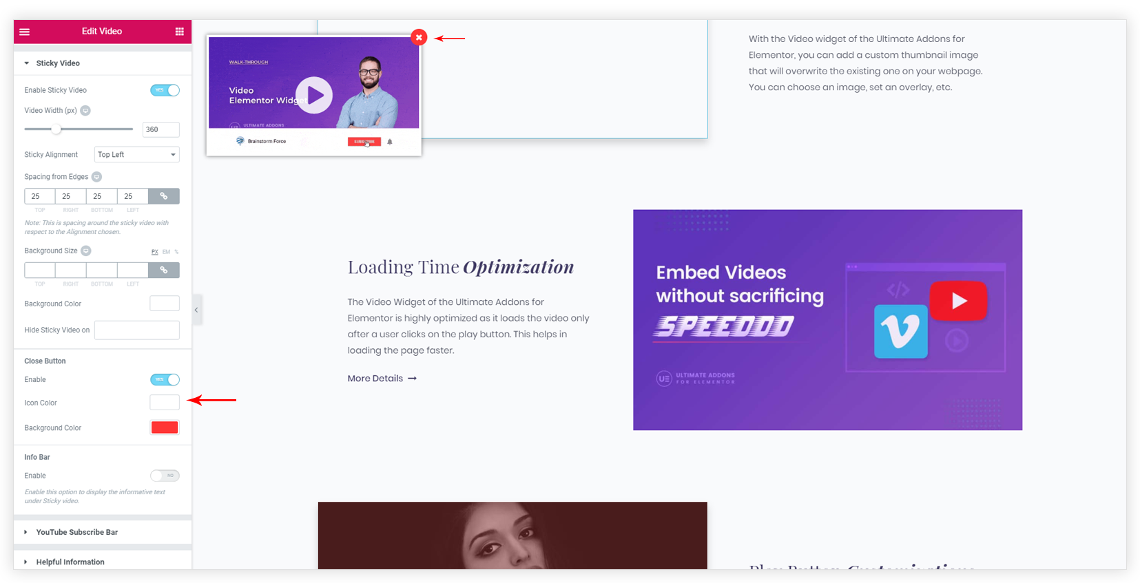 Sticky Video – Ultimate Addons for Elementor