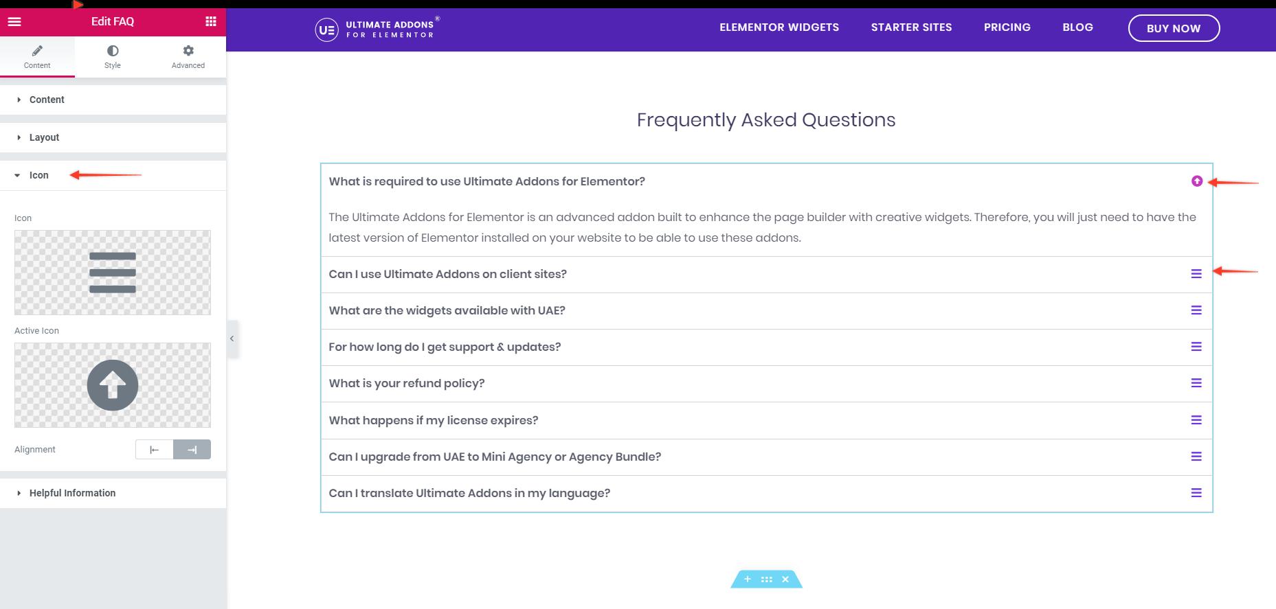 FAQ Custom Icons