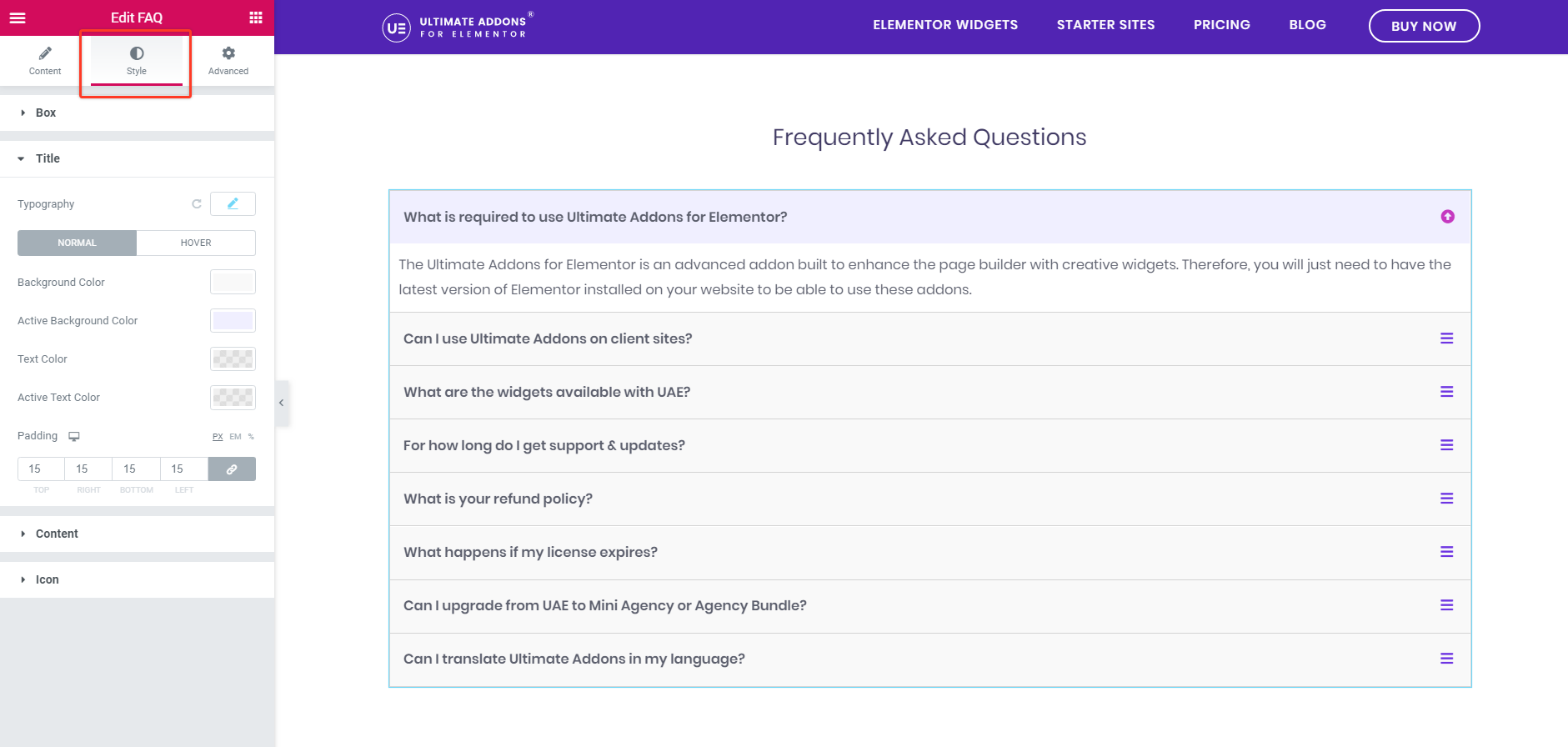 FAQ Typography Option