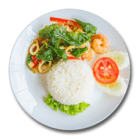 Seafood with Rice & Salad
