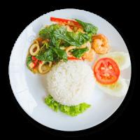 Seafood with Rice & Salad